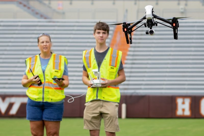 Drone flight in Lane Stadium